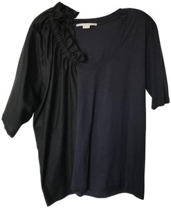 Stella McCartney Ruched Colorblock Edgy Contemporary Top Black and navy