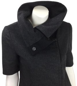 Jenni Kayne Coat Cashmere Coat Dress Coat Short Sleeve Coat Charcoal Blazer