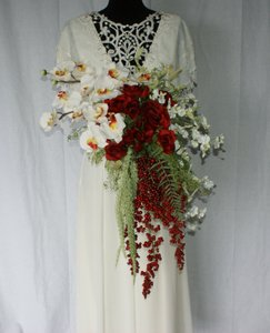Red Rose and Orchid Stylized Bridal Bouquet Ceremony Decoration