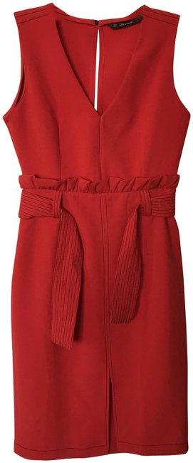 Item - Red Ruched Belted Mid-length Work/Office Dress Size 8 (M)