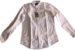 Abercrombie & Fitch Button-up Preppy Preshrunk Stretchy Logo Button Down Shirt White