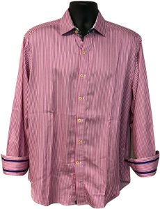Robert Graham Mens Shirt Button Down Shirt Pink/White
