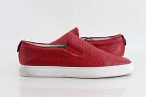 Gucci Red Gg Web Slip-on Sneakers Shoes