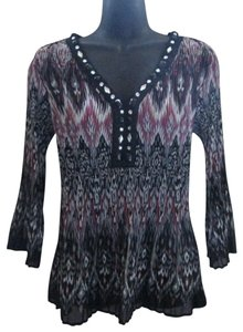 Signature by Larry Levine Accordion Ikat Bell Sleeves Chiffon Jeweled Top Multicolored