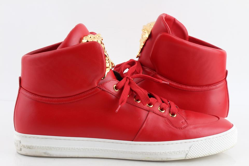 52a6a90930d Versace Red Palazzo Idol Leather High-top Sneaker Shoes Image 0 ...