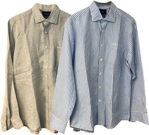 Façonnable Mens Shirt Button Down Shirt Blue/White/Gray