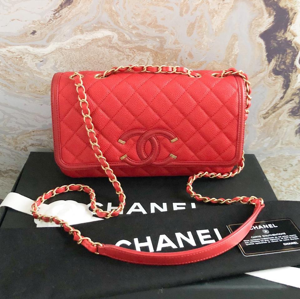 08a70044 Chanel Classic Flap Caviar Quilted Medium Filigree Red Shoulder Bag