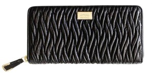 Coach Black New Madison Leather Accordion Zip Horse-and-carriage Wallet