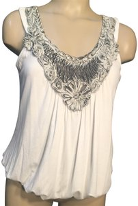 Bobeau Top Ivory & Gray