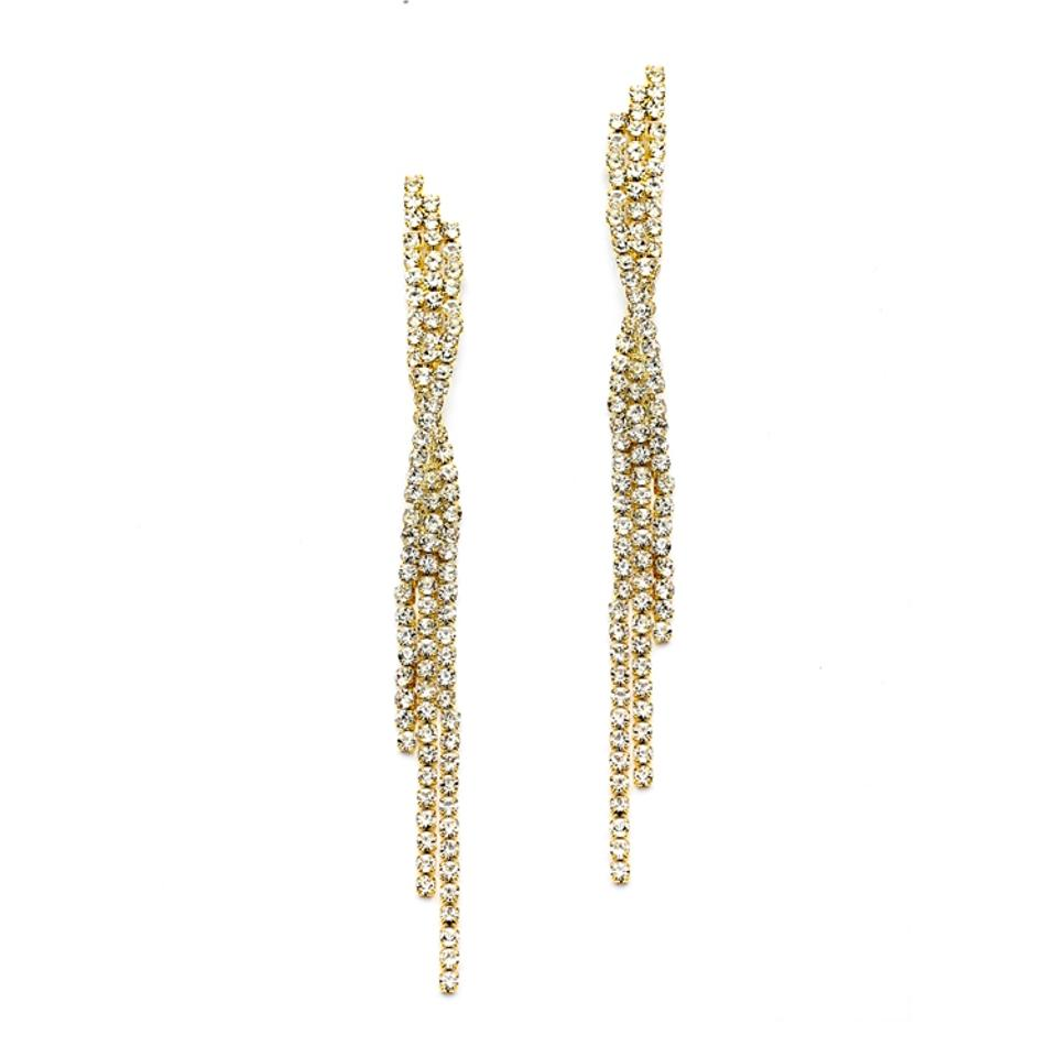 Mariell Gold Por Dangling Rhinestone Prom With Graceful Twist 4206e Cr G Earrings