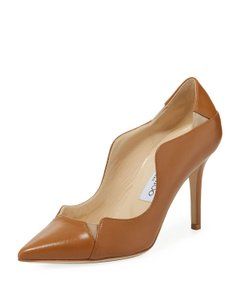 Jimmy Choo Scalloped Leather Stilleto Cassic Tan/Beige/Natural Pumps