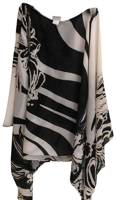Item - Black and White Shawl with Sleeved Blouse Size 20 (Plus 1x)