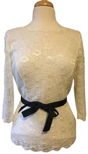 Alex Evenings Lace Party Christmas Festival Top Ivory