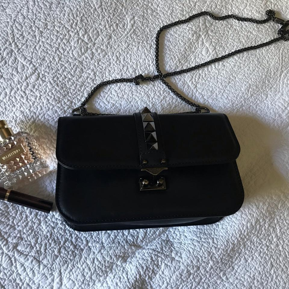 158e3dc42c3 Valentino Medium Noir Lock Shoulder Cross Body Bag - Tradesy