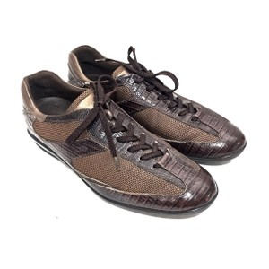 Tod's Sneakers Leather Canvas Lace Up Brown Athletic