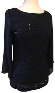 Marina Christmas Sequin Sheer Festival Evening Top Navy blue