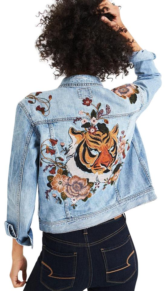 647dd0f18a American Eagle Outfitters Denim Tiger Embroidered Classic Jean Jacket Size  2 (XS) 9% off retail