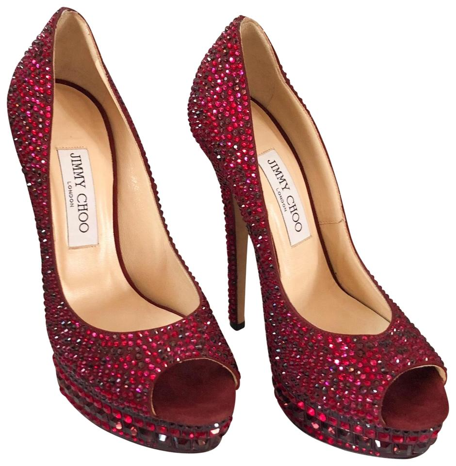 4f25876b3f Jimmy Choo Kendall Red Swarovski Crystal Peep Toe Pump Platforms ...