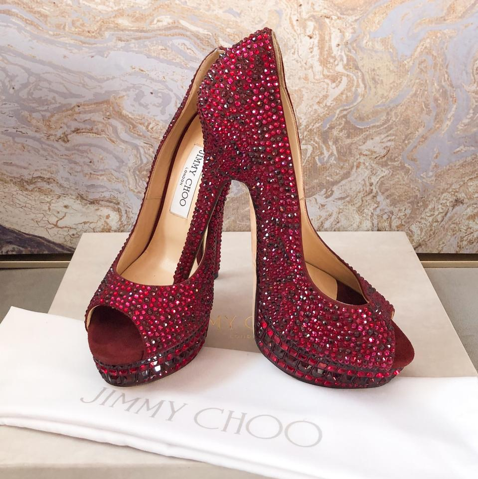 53de7cebab Jimmy Choo Kendall Red Swarovski Crystal Peep Toe Pump Platforms Size US 8  Regular (M, B) - Tradesy