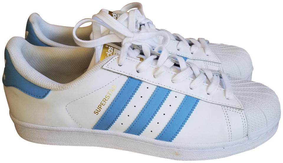 adidas White with Light Blue Stripes Superstar Sneakers Size US 10.5 ... 6596118c2