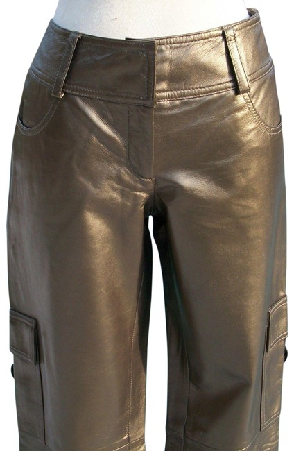 Cache Dark Gold Metallic Butter Leather Lined Motorcycle Pants Size 4 (S, 27) Cache Dark Gold Metallic Butter Leather Lined Motorcycle Pants Size 4 (S, 27) Image 1