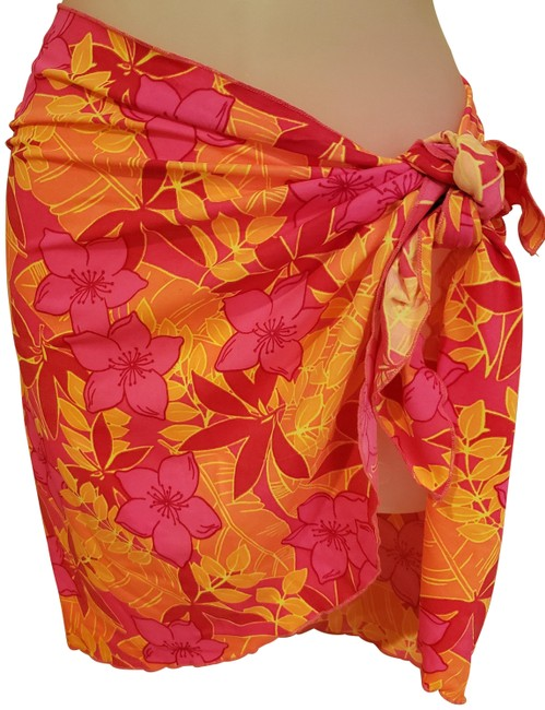 Item - Hot Pink Hot Orange Red & Yellow Cover-up/Sarong Size OS (one size)