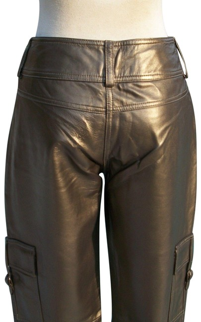 Item - Dark Gold Metallic Butter Leather Lined Motorcycle Pants Size 6 (S, 28)
