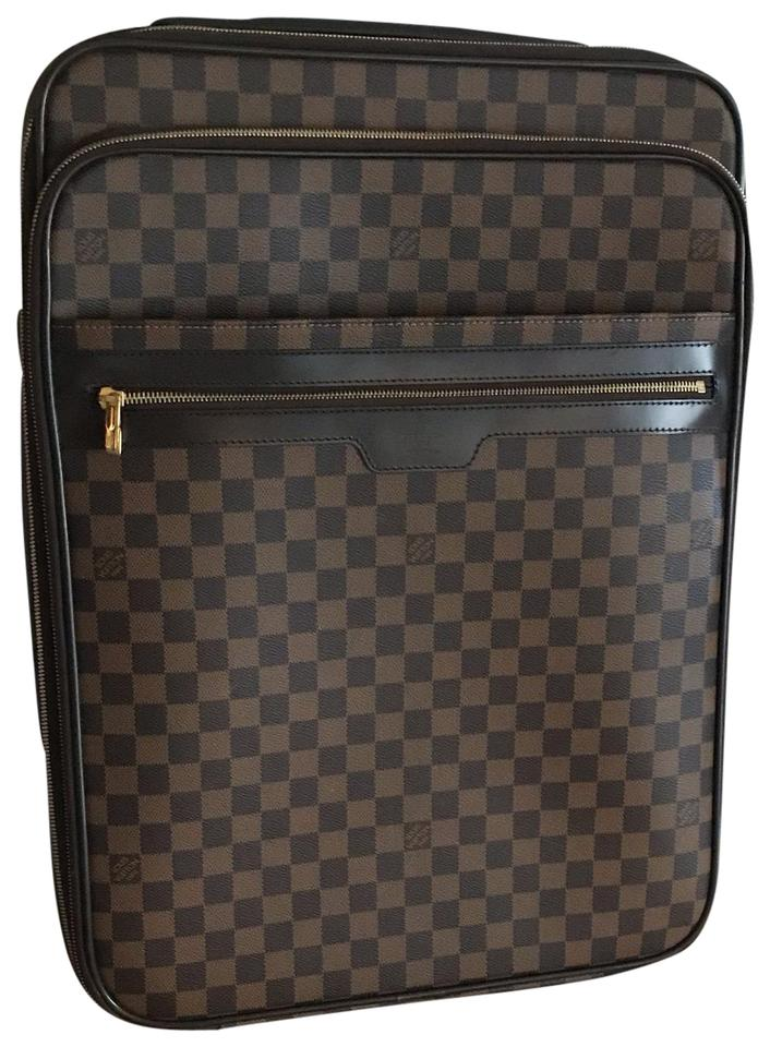 Louis Vuitton Pegase 55 Business Rolling Suitcase Damier Ebene Brown  Leather Weekend Travel Bag 42% off retail 158df31673063