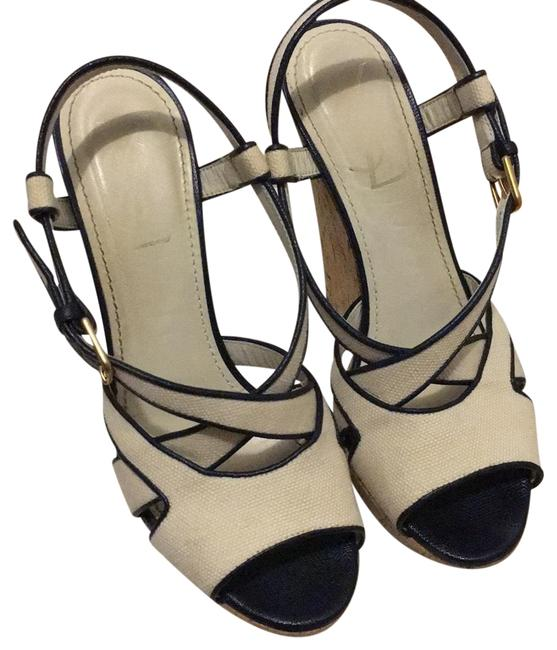 Item - Navy and White Canvas Deauville Ysl Wedges Size EU 38 (Approx. US 8) Regular (M, B)