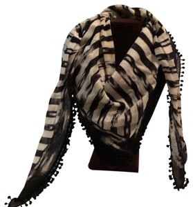 Henri Bendel ikat striped Bibb scarf