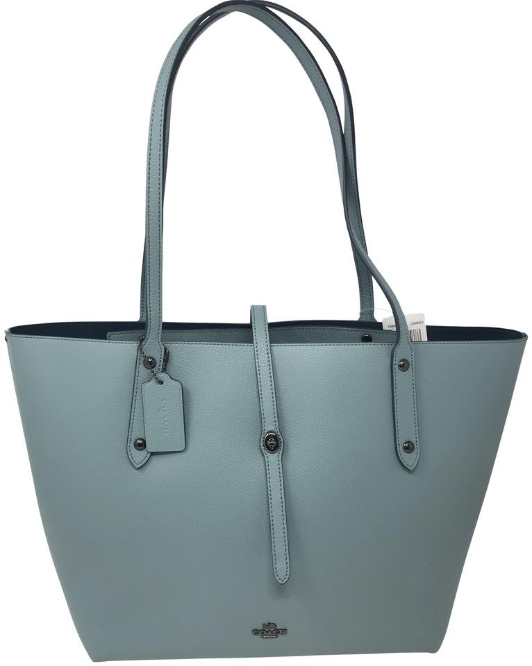 5327190168 Coach Market Tote In Polished Pebble Leather Shoulder Bag - Tradesy