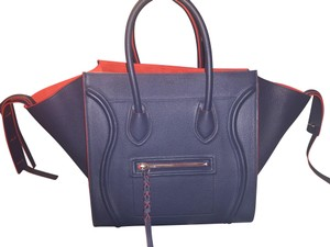 Céline Tote in Navy with Red Trim