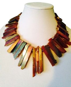 Kenneth Jay Lane Gold/Purple Agate/Drusy Agate Stick Necklace