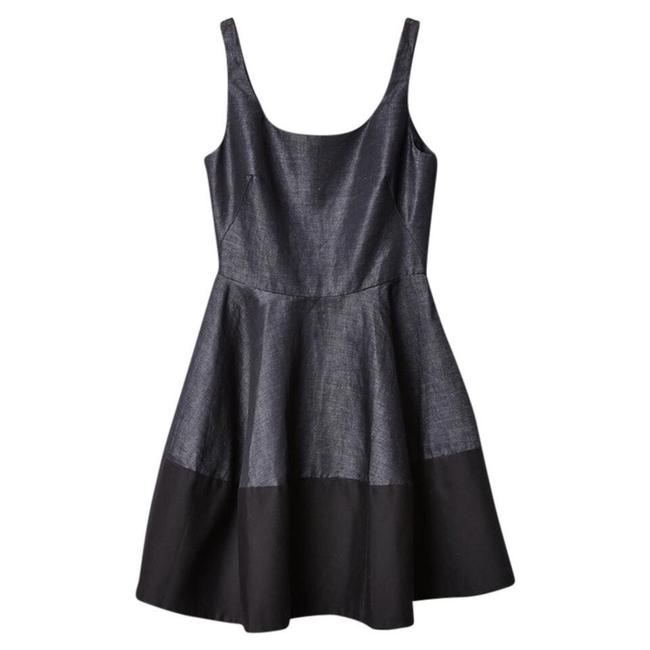 Gap Dark Chambray Black Grey And Sleeveless Scoopneck Fit and Flare Mid-length Cocktail Dress Size 6 (S) Gap Dark Chambray Black Grey And Sleeveless Scoopneck Fit and Flare Mid-length Cocktail Dress Size 6 (S) Image 1