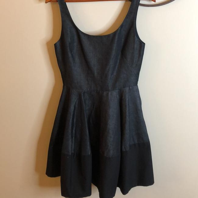 Gap Dark Chambray Black Grey And Sleeveless Scoopneck Fit and Flare Mid-length Cocktail Dress Size 6 (S) Gap Dark Chambray Black Grey And Sleeveless Scoopneck Fit and Flare Mid-length Cocktail Dress Size 6 (S) Image 3