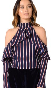 Lucca Top navy with white and red stripes