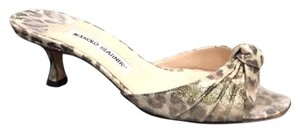Manolo Blahnik Animal print -brown and gold Mules