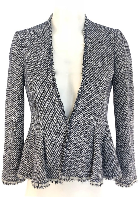 Item - Blue & White Tweed Blazer Size 2 (XS)
