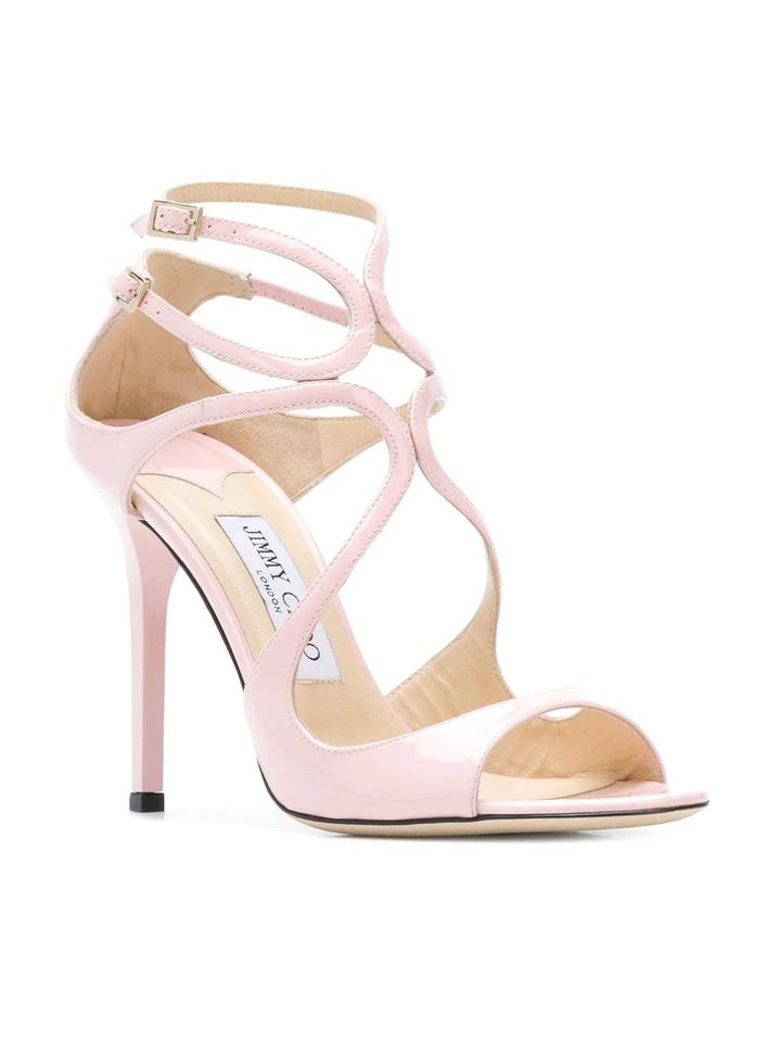 d964f390f0dd Jimmy Choo Pink Rosewater Patent Leather Lang Sandals Size EU 38.5 ...