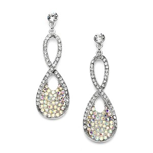 Mariell Best Selling Prom Or Bridesmaids Infinity Earrings In Pave Crystal Ab 4209e