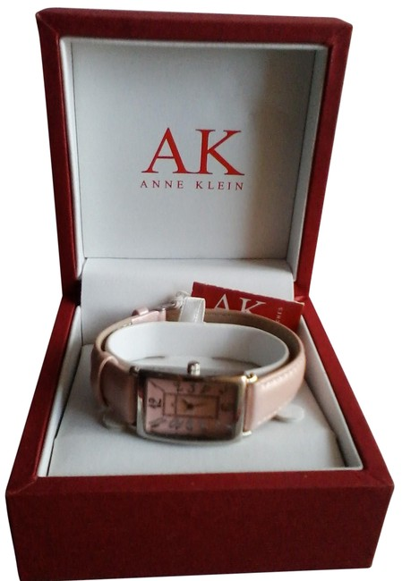 Item - Pink Box With Face and Leather Band In Red Watch