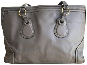 Tumi Leather Large Lined Tote in Taupe