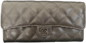 Chanel Chanel Dark Silver Quilted Leather CC Logo Bifold Classic Flap Wallet