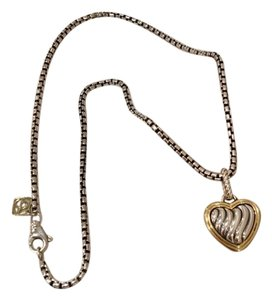 David Yurman authentic David Yurman 18k yellow gold cable collection heart pendant with chain