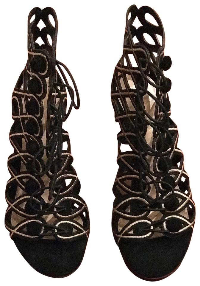 81d059fb572c Gianvito Rossi Black and Gold B g Passemeteire Metallic Embroidered Suede C  Pumps. Size  EU 38 (Approx.
