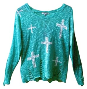 FATE Distressed Crosses Green Lightweight Sweater