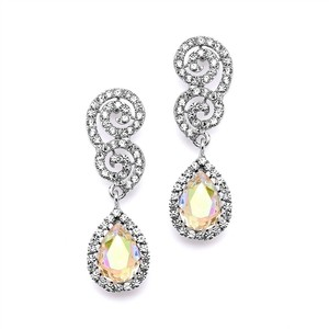 Mariell Best Selling Crystal Scroll Wedding Or Prom Earrings With Ab Teardrop 4230e-ab