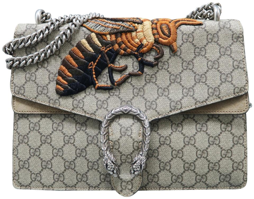 638f7ad657e Gucci Dionysus Gg Supreme Medium Bee Grey Canvas Shoulder Bag - Tradesy