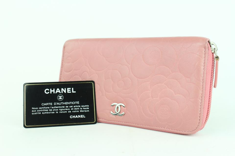 db0f6aa0f01439 Chanel Embossed Camellia Gusset Zip Around Wallet 2cj1110 Pink Leather  Clutch - Tradesy