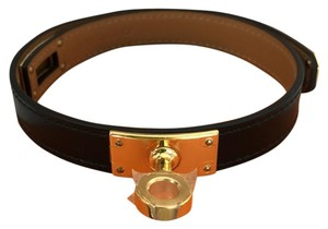 Hermès Brand New Hermes Kelly double bracelet black with gold